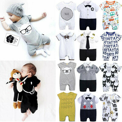 Baby Boys Summer Clothes Infant Playsuit Romper Jumpsuit Shorts Outfit Babygrows