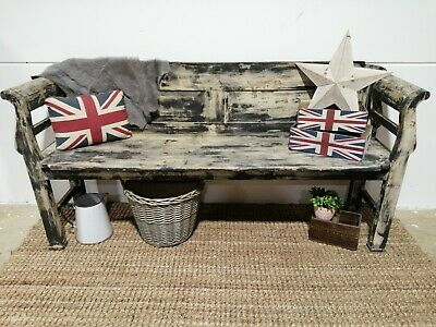 ANTIQUE PAINTED HUNGARIAN BENCH / SETTLE / PEW Seating vintage