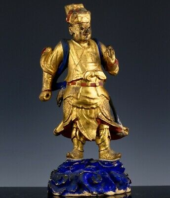 Large Antique Chinese Gold Red Lacquer Imperial Warrior Immortal Figure