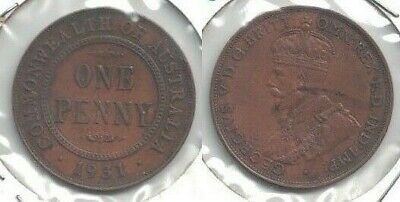 1931 Australia Penny in Very Fine to Extra Fine Condition -- a Nice Looking Coin
