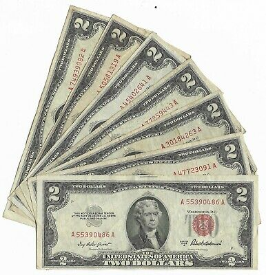 7 X $2 1953  Red Seal