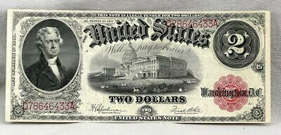 1917 $2 UNITED STATES LEGAL TENDER RED SEAL Large Note!