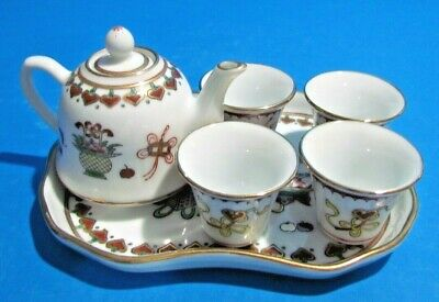 6 pc Tea Set  Tea Pot and Serving Tray & 4 Cups Beautifully Made Hand Painted