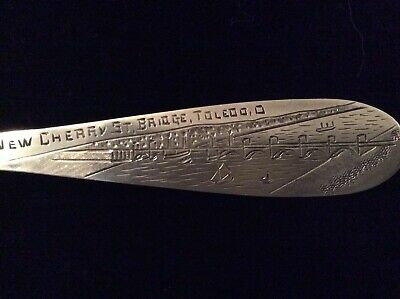 "TOLEDO CHERRY STREET BRIDGE  Sterling Souvenir 5.2"" Spoon by Manchester"