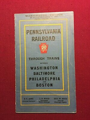 1911 PRR Pennsylvania Railroad w/ MAP  Schedule Timetable Folded Brochure