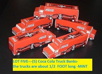 Lot 5 older Coca Cola Soda Pop Coke Truck Coin Banks MINT Free usa Postage