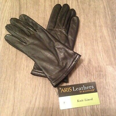 Aris Leathers by Isotoner Knit Lined Leather Gloves Size 7 Vintage