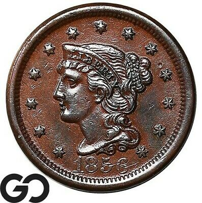 1856 Large Cent, Braided Hair, Upright 5, Nice Choice AU+ Tougher Variety