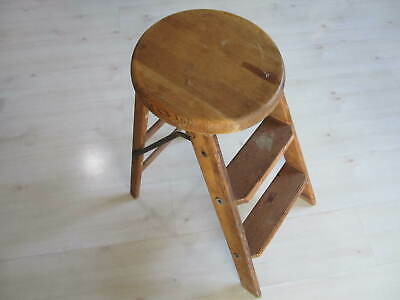 Vintage American Union Made Wooden Step Ladder Stool Primitive Union 237 USA