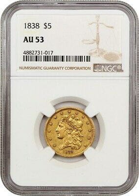 1838 $5 NGC AU53 - Classic Head Gold Type Coin - Early Half Eagle - Gold Coin