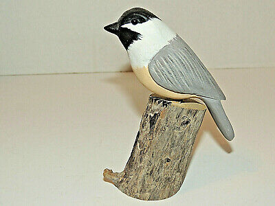 Vintage Bird Shoal Hand Carved & Painted on Driftwood, Signed, Dated 1989