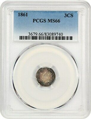 1861 3cS PCGS MS66 - Civil War Date - 3-Cent Silver - Civil War Date