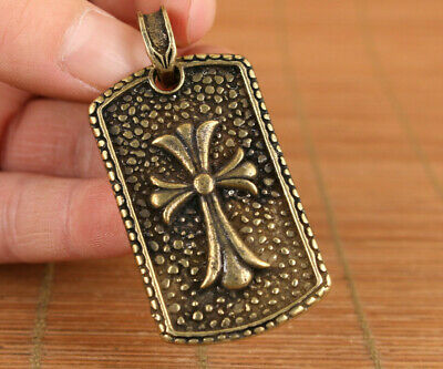 fortune old bronze hand carved cross statue netsuke collection pendant