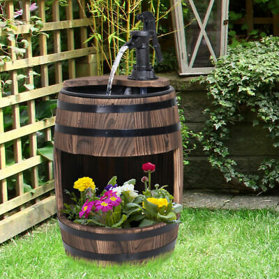 Wood Barrel Pump Fountain Water Feature w/ Flower Planter Garden Decor Ornament