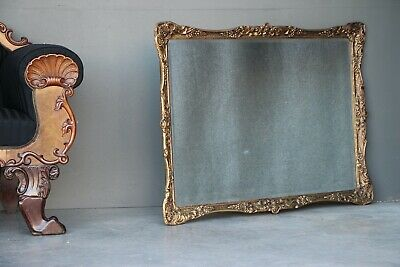 Large French Louis XV mirror antique gilt carved frame ornate scroll corners