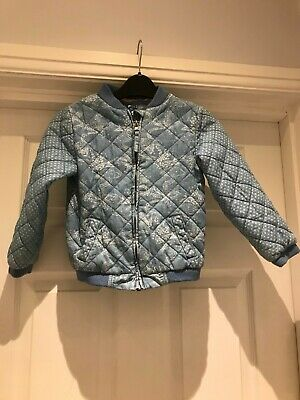 Mothercare Girls Blue Cotton Quilted Jacket Age 3/4Yrs