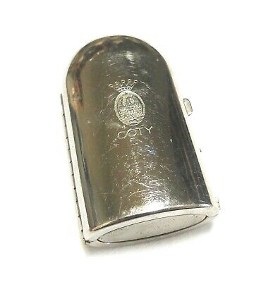 """COTY Signed Silver Plated Perfume Bottle Case w Glass Bottle - 2.25"""""""