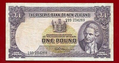 New Zealand  One Pound Circulated Vf Pick 159C