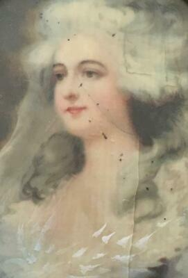 Antique Hand painted Miniature Portrait 18th Century woman lace white wig framed