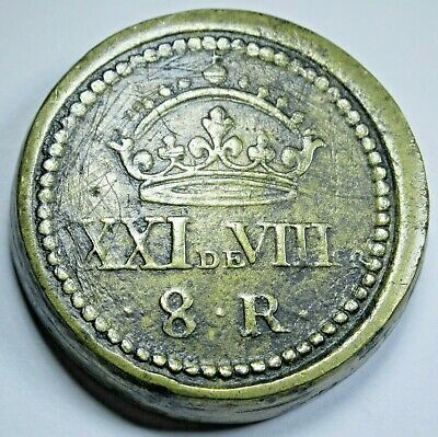 Antique Spanish Counterweight For 8 Reales Eight Real Weighing Scale Weight Coin