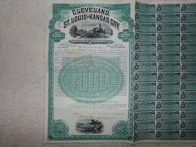 1898 Cleveland,St.Louis and Kansas City Railway Co. $1000 Gold Bond FBNC