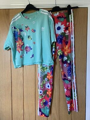 Girls Adidas Flowery Leggings And Top Age 12-13
