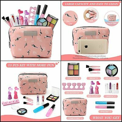 Girl Gifts Toys for Age 3-8, Makeup Kit for Girl with Cosmetic Bag Included 13P