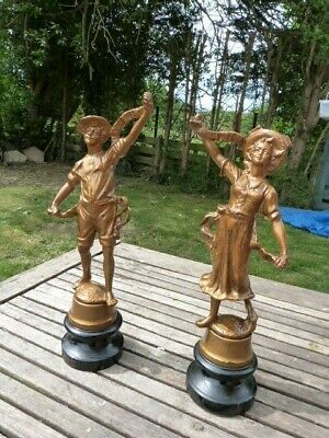 Stunning Pair Of French Antique Victorian Gilt Spelter Figurines. 2.3 Kgs Each.
