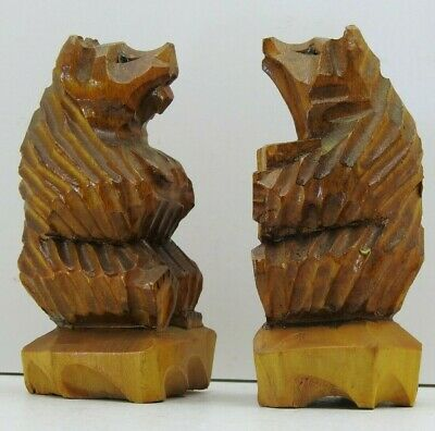 """Ukrainian Hand Carved Wood Wooden Bear Set of Two figurine 4.5"""" Tall Vintage"""