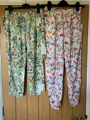 Zara Kids Two Pairs Of Girls Summery Flowery Trousers, 11-12 Years