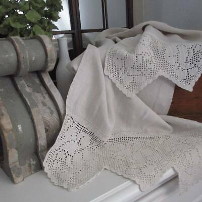 French Country Antique Pure Linen Lace & Roses Table Runner or Scarf 60x19