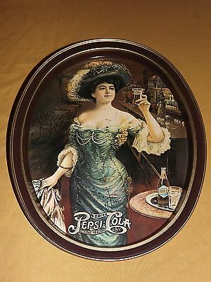 "14"" High Metal Drink Pepsi Cola  5C Young Girl Holding Glass Serving Tray"
