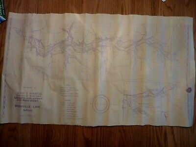 Map of Brookville Lake, Indiana Vintage Paper Map, Distributed by Kent's Harbor