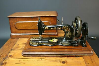 Bradbury No1 Fiddle Base Sewing Machine Handcrank Vintage Antique Coffin Case