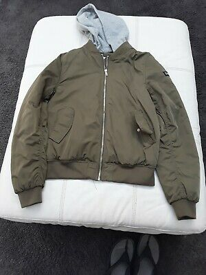 GIRLS H&M GREEN CASUAL  HOOD BOMBER JACKET KIDS AGE13  14 YEARS never look back