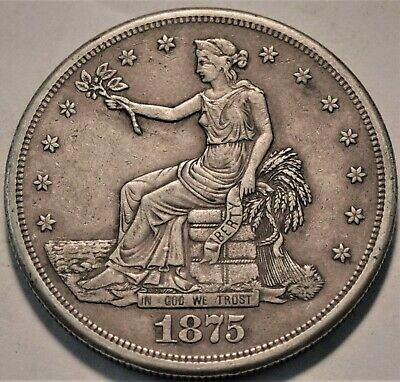 1875 S Trade Silver Dollar, Higher Grade, Better Type Coin, Nice Looking T$1
