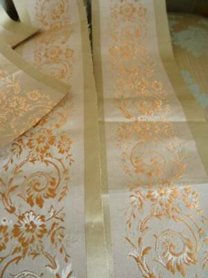 5 Lengths Of Antique French Gold Brocade On Silk Background C.1880