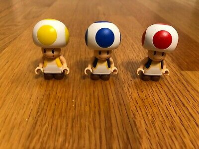 Knex Lot of 3 Super Mario Bros Toad Figures: Red, Yellow, & Blue Toad
