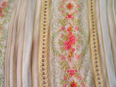 A Beautiful Antique Pretty French Floral Brocade Fabric Panel