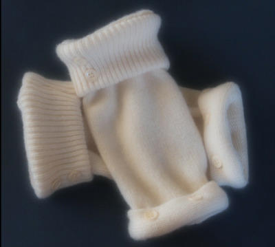 Fingerless Gloves Ivory Winter White Cashmere Women's One Size Fits Most