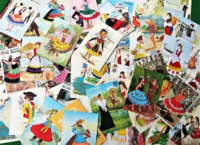 Collection 100 Embroidered Silk Material Spanish Novelty Postcards Costume etc