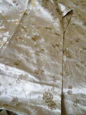 Two Exquisite Silk & Gold Metallic Floral Brocade Fabric Panels C.1880