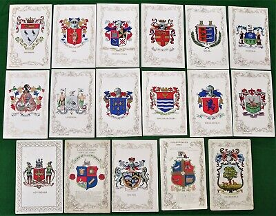 Collection 17 Heraldic Series Postcards Illustrated Town Coats of Arms / Crests