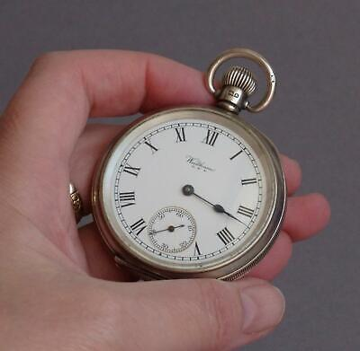 WORKING Vintage STERLING SILVER Substantial POCKET WATCH with SECONDS HAND