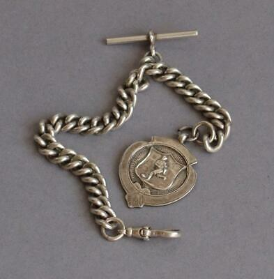 Vintage STERLING SILVER Substantial ALBERT POCKET WATCH CHAIN with FOB CHARM
