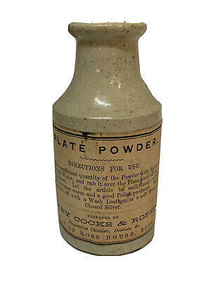 Antique 19th C Stoneware Apothocary Bottle With Label