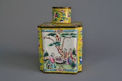 Chinese Canton Enamel Square Tea Caddy