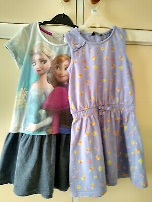2x Girls Summer Dresses Age 4-5 Years - George/Next (Elsa and Ana)