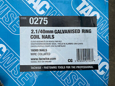 Tacwise 2.1 x 40mm Galvanised Ring Coil Nails. Wire Collated 16000 Nails BNIB