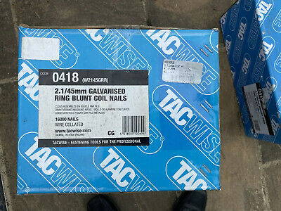 TACWISE 2.1/45 Galvanised Ring Blunt Coil Nails, Wire Collated 16000 Nails BNIB